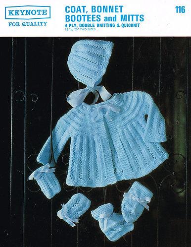 116K baby matinee coat set vintage knitting pattern  PDF Download