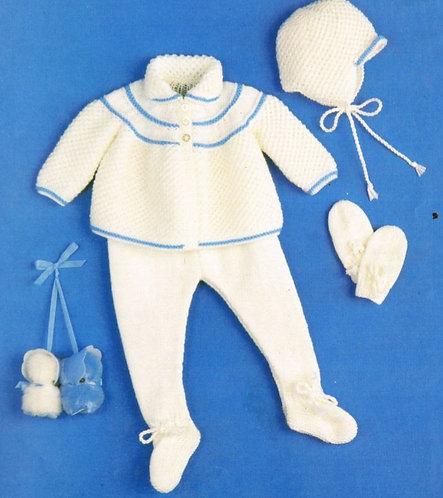 1494H baby pram suit vintage knitting pattern  PDF Download
