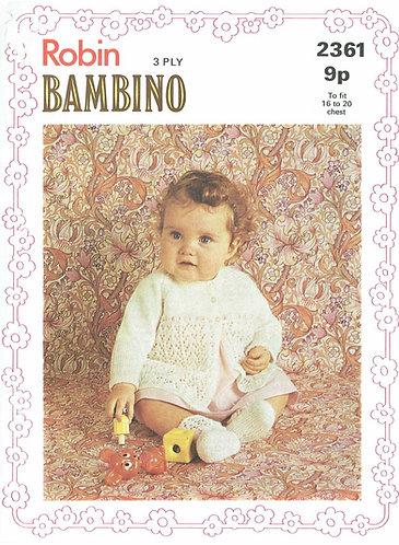 2361R baby matinee coat vintage knitting pattern  PDF Download
