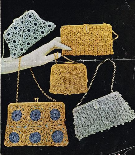 768T ladies purses handbags vintage crochet pattern  PDF Download