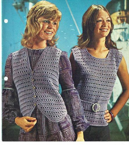 1413 ladies summer top waistcoat Vintage crochet pattern  PDF Download