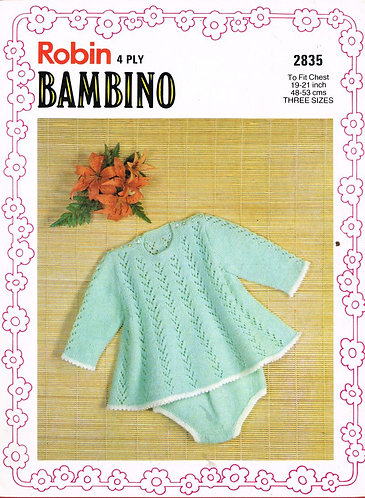 2835R baby dress set vintage knitting pattern  PDF Download