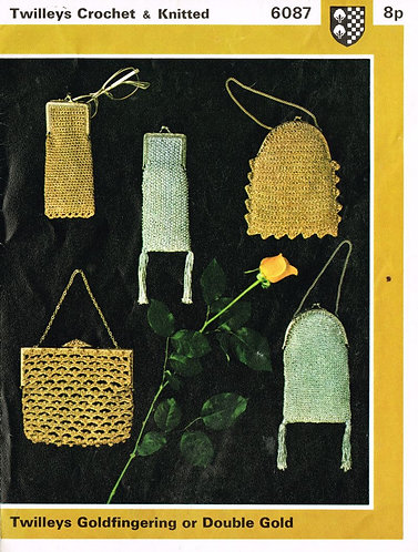 6087T ladies bags vintage knitting and crochet pattern  PDF Download