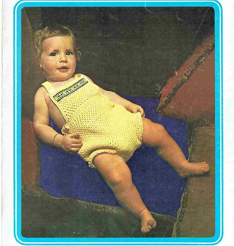 5145T baby romper suit vintage crochet pattern  PDF Download