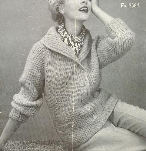 3584 ladies cardigan Vintage knitting pattern  PDF Download