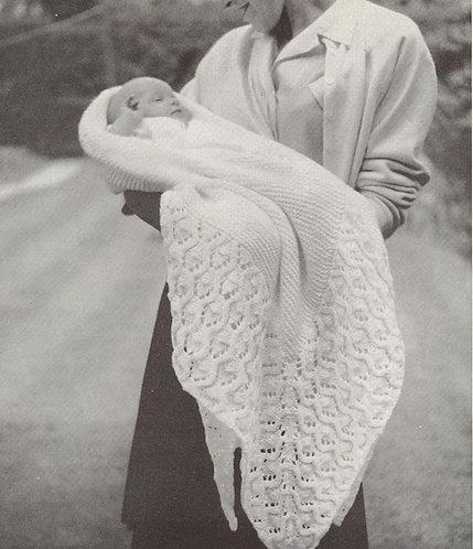 Baby shawl 2 vintage knitting pattern PDF