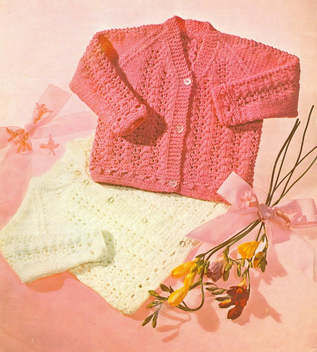837Ar baby cardigan vintage knitting pattern PDF