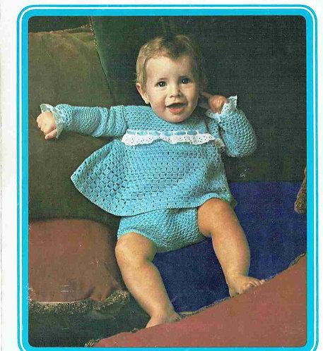 5147T baby romper suit vintage crochet pattern  PDF Download