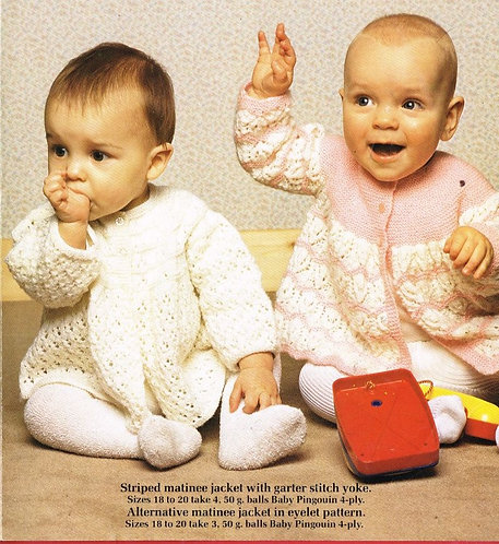 8220P baby matinee coat vintage knitting pattern  PDF Download
