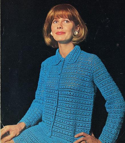 809T ladies cardigan skirt suit vintage crochet pattern  PDF Download