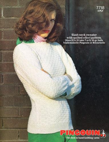 7718P ladies jumper vintage knitting pattern  PDF Download