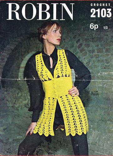 2103R ladies waistcoat vintage crochet pattern  PDF Download