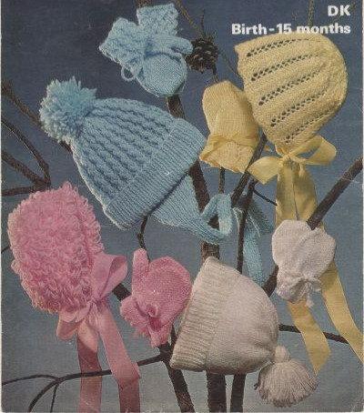 1655M baby hats vintage knitting pattern  PDF Download