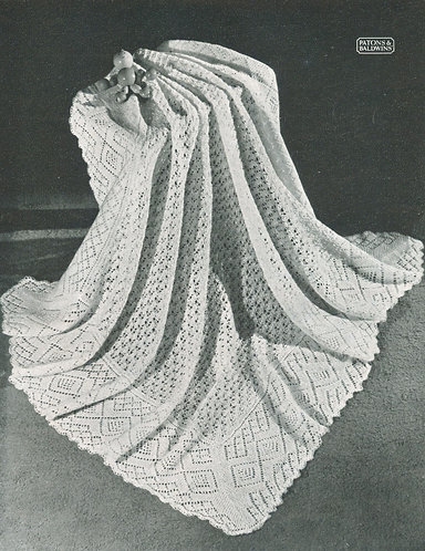 Annemarie shawl vintage baby knitting pattern PDF