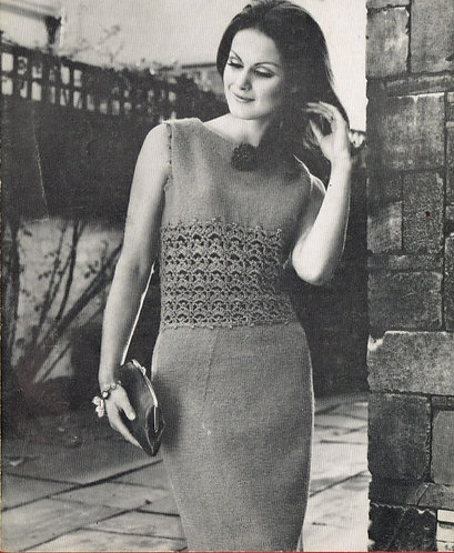 464H ladies dress Vintage knitting and crochet pattern  PDF Download