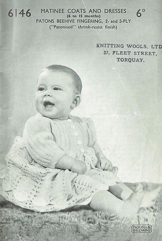 6146P baby dress and coat set vintage crochet pattern PDF Download