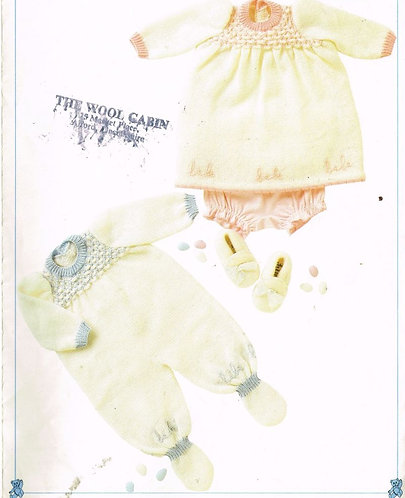 8728P baby romper and dress set vintage knitting pattern  PDF Download