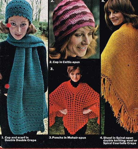 4210 ladies hat scarf poncho Vintage crochet pattern  PDF Download