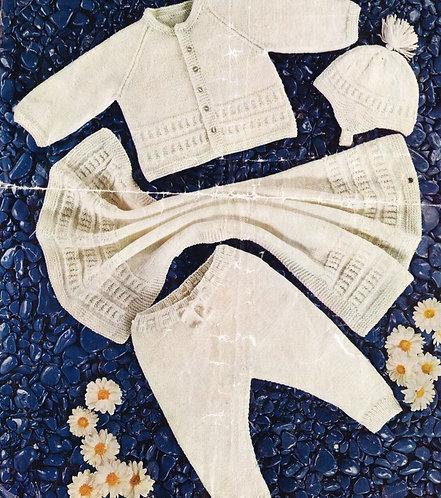 1314M baby pram suit blanket vintage knitting pattern  PDF Download