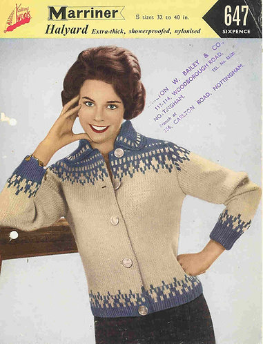 647 ladies chunky cardigan Vintage knitting pattern  PDF Download