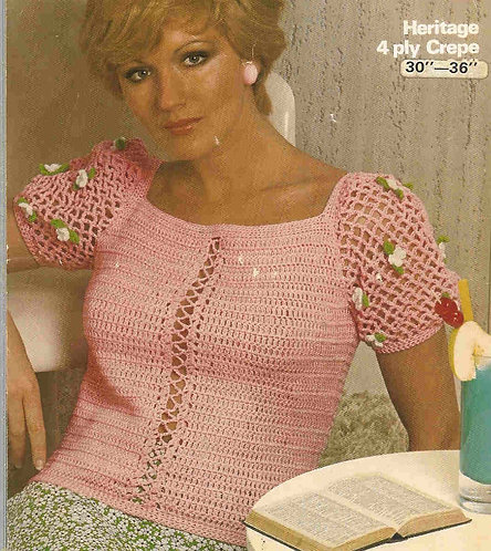 1592 ladies summer top Vintage crochet pattern  PDF Download