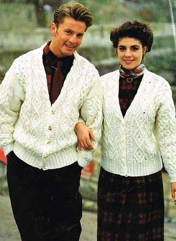 945H ladies mens aran cardigan Vintage knitting pattern  PDF Download