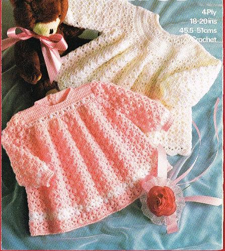 1887M baby dress vintage crochet pattern  PDF Download
