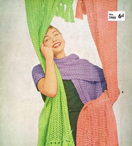 3466 ladies scarf Vintage knitting pattern  PDF Download