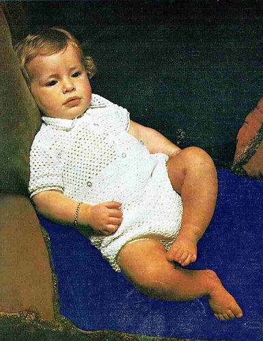 5143T baby romper suit vintage crochet pattern  PDF Download