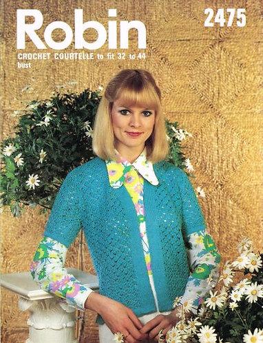 2475R ladies edge edge jacket cardigan vintage knitting pattern  PDF Download