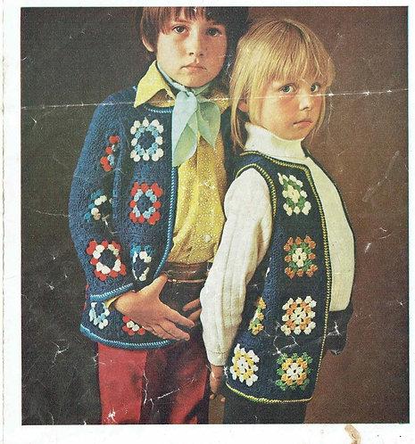 5860T girls waistcoat cardigan vintage crochet pattern  PDF Download