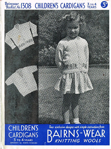 Bairnswear 1300 childrens vintage knitting pattern PDF