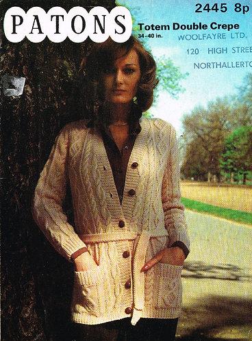 2445P Ladies vintage knitting pattern PDF
