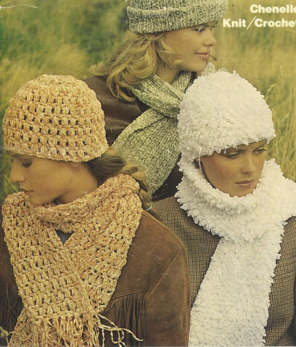1763 ladies hat and scarf set Vintage knitting and crochet pattern  PDF Download