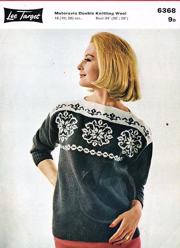 6368Lt ladies jumper vintage knitting pattern  PDF download