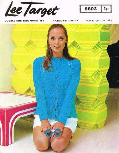 8803Lt ladies cardigan vintage crochet pattern  PDF Download