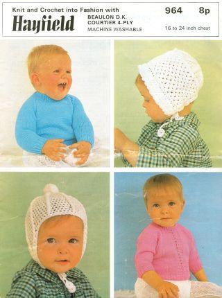 964H baby hats vintage knitting pattern PDF download