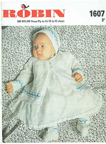 1607R baby matinee coat vintage knitting pattern  PDF Download
