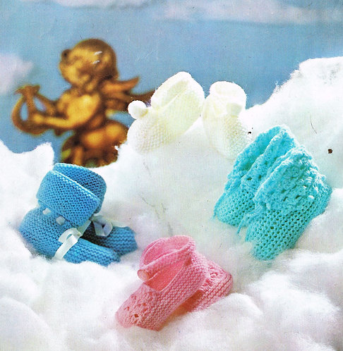 8823Lt baby boots vintage crochet and knitting pattern PDF