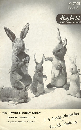 7005H toy rabbits vintage knitting pattern  PDF Download