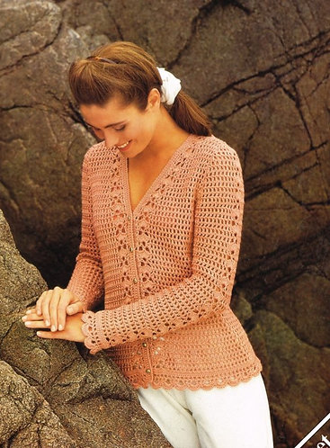 4063H ladies cardigan Vintage crochet pattern  PDF Download