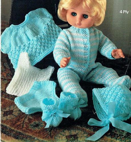 1855M dolls clothes vintage knitting pattern  PDF Download