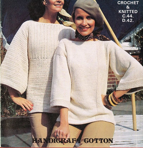 6196T ladies jumpers vintage knitting and crochet pattern  PDF Download