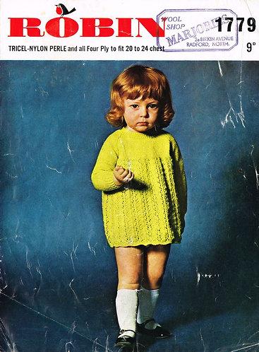 1779R baby dress vintage knitting pattern  PDF Download