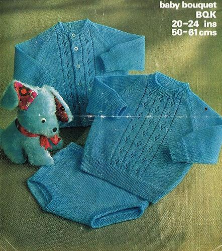 1618M baby jumper cardigan set vintage knitting pattern  PDF Download