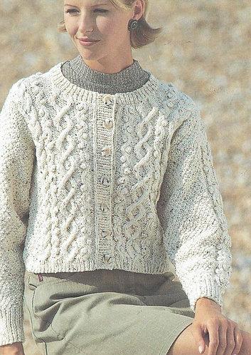 4666 ladies aran cardigan Vintage knitting pattern  PDF Download
