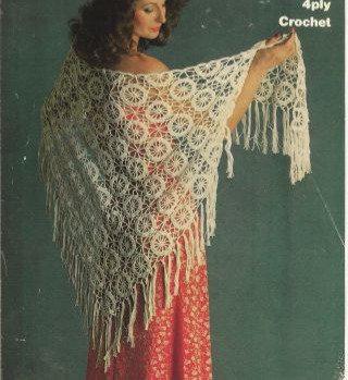 1737 ladies shawl Vintage crochet pattern  PDF Download