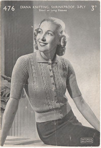 Ladies short sleeve cardigan 476P vintage knitting pattern PDF download