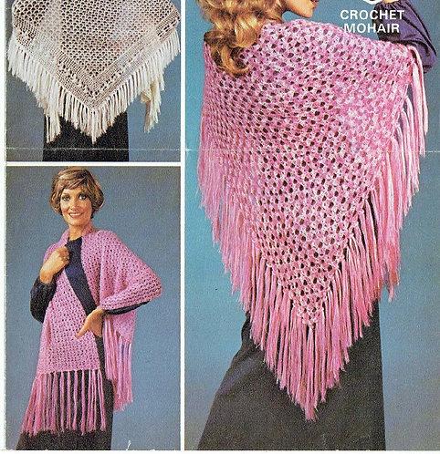 6062T ladies shawls vintage crochet pattern  PDF Download