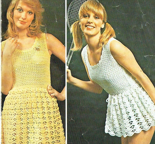 5142T ladies dress vintage crochet pattern  PDF Download